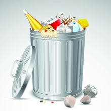 Cartoon image of a trash can with a variety of trash and garbage in and around it